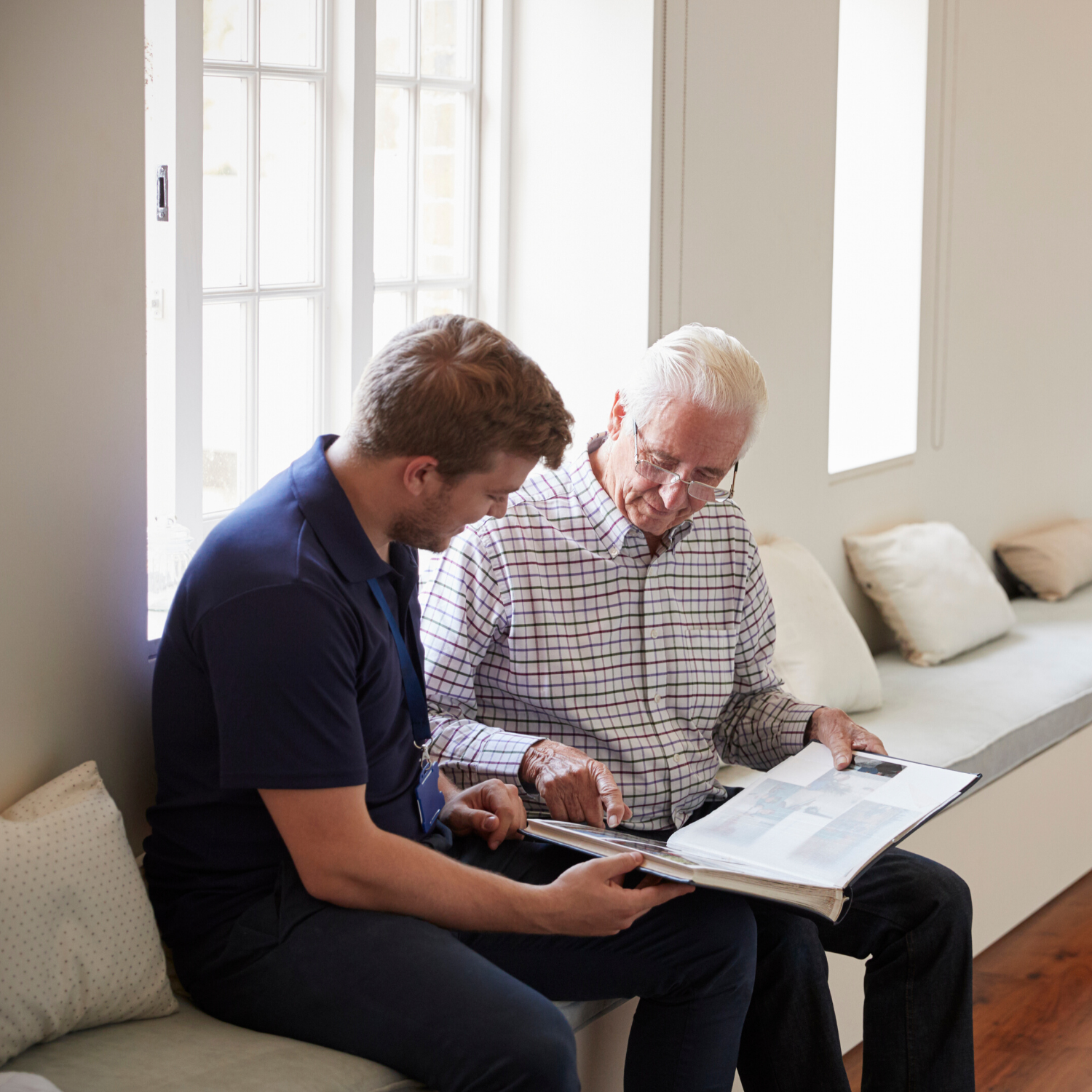Son and elderly father after Peace of Mind Planning class